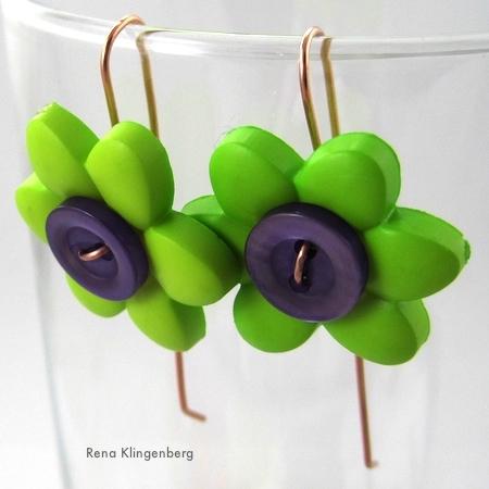 Tutorial de brincos de botão de flor de poder por Rena Klingenberg
