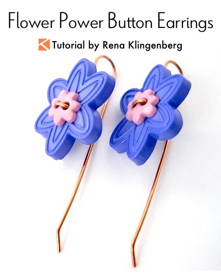 Flower Power Button Earrings Tutorial by Rena Klingenberg