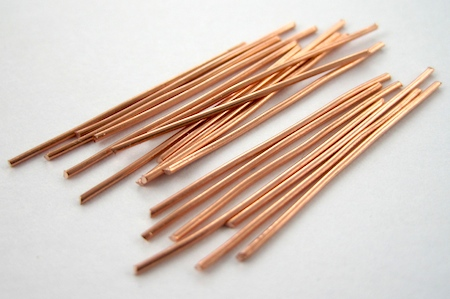 Copper wire sticks for Waterfall Earrings Tutorial by Rena Klingenberg