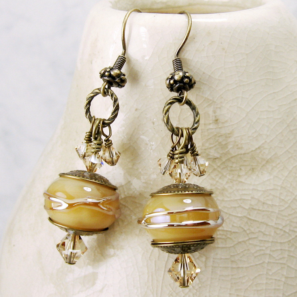 Creamy Dreamy Lampwork Earrings