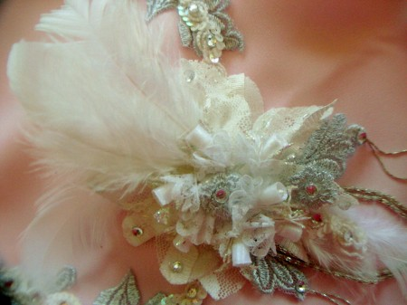 1920 silver and lace bridal headpiece