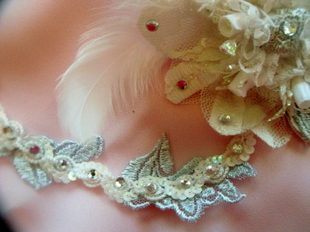 1920 inspired sequins and lace wedding hair jewelry