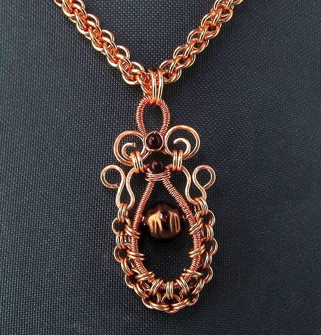 Oriental Copper Swirls & Ruffles Pendant