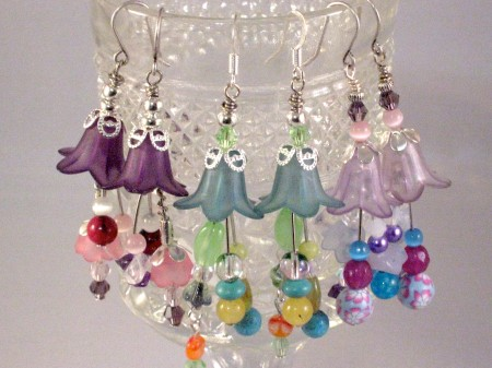Fancy Flower Earrings made using crystal, lucite, semi-precious gemstone and metal beads (by Uniquely Yours).