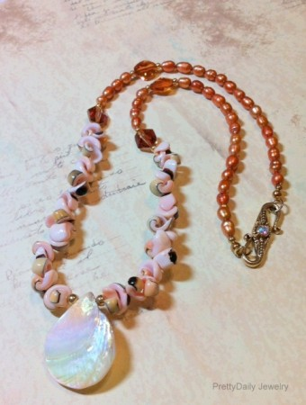Sliced Shell, Pearl and Crystal Necklace