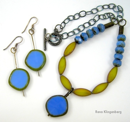 Cornflower and Yellow Jewelry Set by Rena Klingenberg