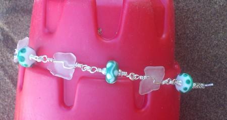 Sea foam lampwork beads with seaglass bracelet