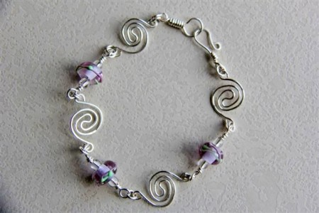 Wirework and lampwork bracelet