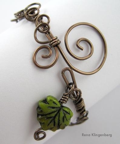 Leaf & Vine Filigree Wire Bracelet Tutorial by Rena Klingenberg