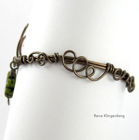 Back view of Leaf & Vine Filigree Wire Bracelet Tutorial by Rena Klingenberg