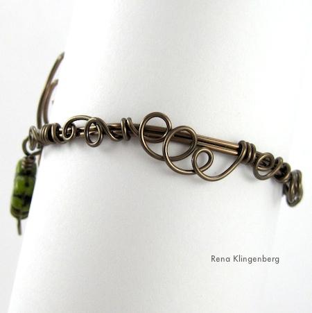 Back view of Leaf & Vine Filigree Wire Bracelet Tutorial by Rena Klingenberg