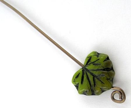 Leaf bead on handmade headpin by Rena Klingenberg