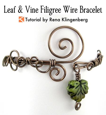 Leaf & Vine Filigree Wire Bracelet Tutorial by Rena Klingenberg
