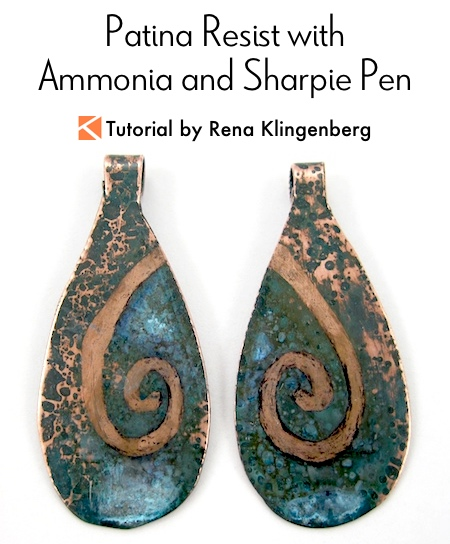 Patina Resist with Ammonia and Sharpie Marker Tutorial by Rena Klingenberg