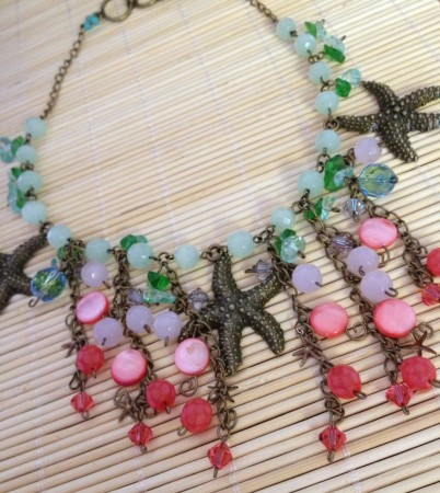 Brass starfish collar necklace