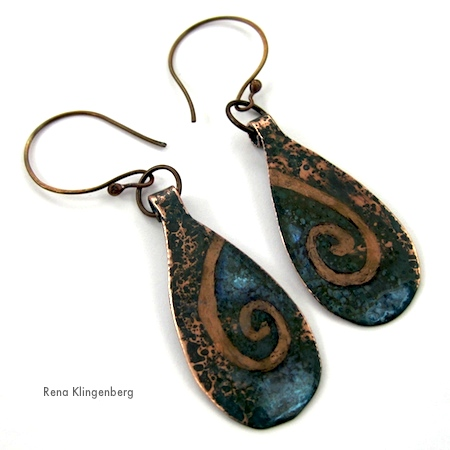 Rustic Picture Patina Earrings Tutorial by Rena Klingenberg