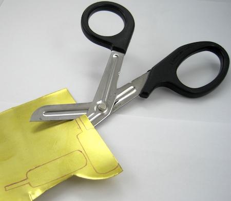 Cutting out sheet metal earrings