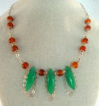 Carnelian and green aventurine necklace with sterling silver chain.