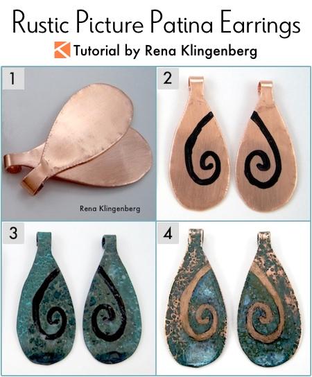 Rustic Picture Patina Earrings Tutorial by Rena Klingenberg