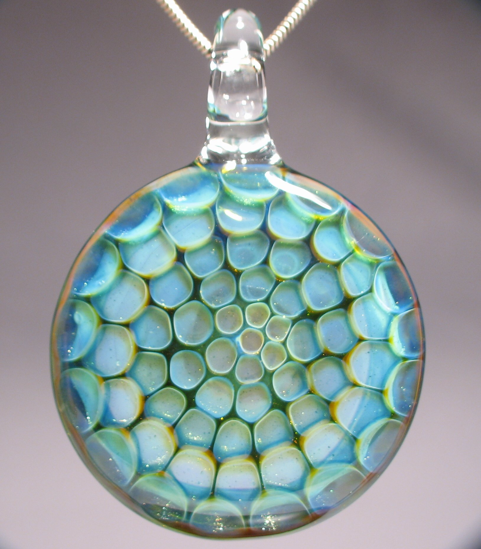 Honeycomb Blown Glass Pendant