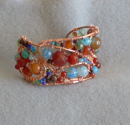 Wire and Bead Bracelet by Nancy Vaughan
