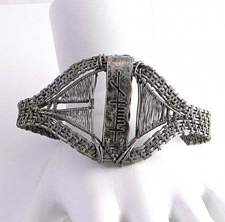 Mens Titanium Wire Weave Cuff