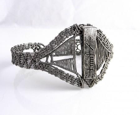 Titanium Men's Rune Pendant Bracelet