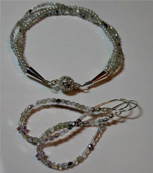 Soft Silver Sparkle Bracelet & Earrings