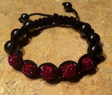 Red and Black Shambala Bracelet