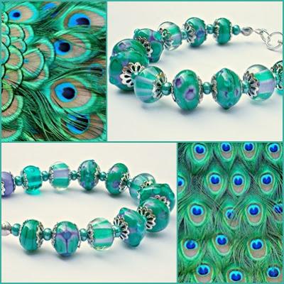 Lampwork bracelet inspired by Peacock by Marianne Melnik