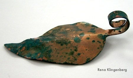Underside of Copper Leaf - Potato Chip Patina - Tutorial by Rena Klingenberg