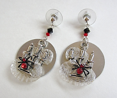 Candelabra and Red Spider Earrings - Mary Wong