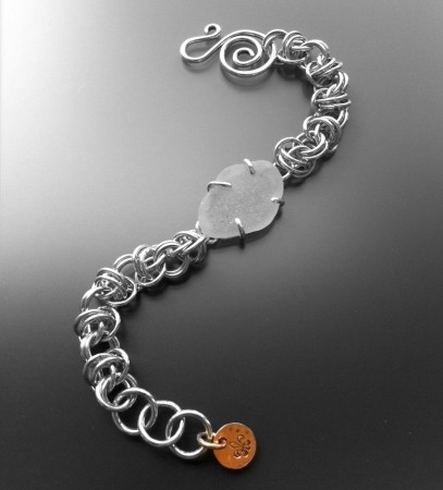 Seaglass chainmaille bracelet