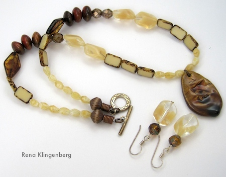 Coffee and Cream jewelry set by Rena Klingenberg