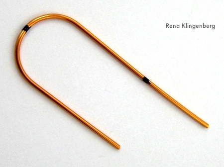 Bending earwire for Fancy Earwires Tutorial by Rena Klingenberg