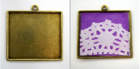 Brass Pendant Frame Before and After - Lacy Jewelry Tutorial by Rena Klingenberg