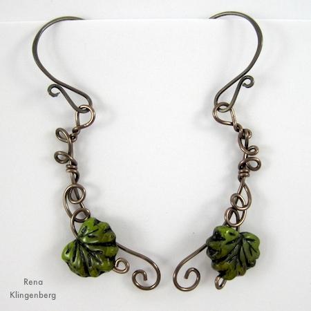 Leaf and Vine Wire Earrings Tutorial by Rena Klingenberg