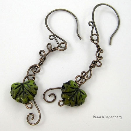 Leaf & Vine Wire Earrings Tutorial by Rena Klingenberg