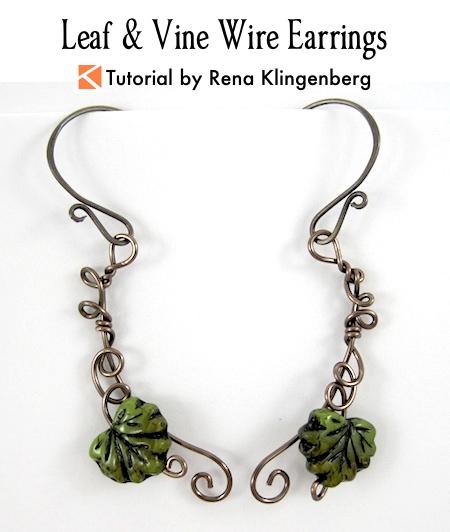 Leaf & Vine Wire Earrings Tutorial by Rena Klingenberg