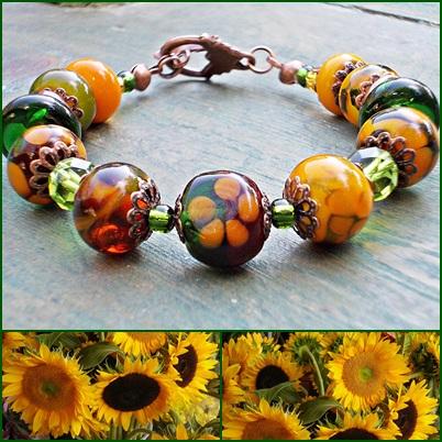 Sunflower Lampwork Beadss