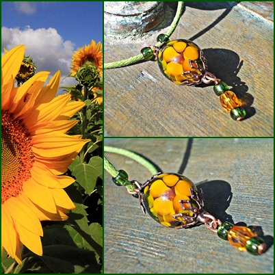 Sunflower Lampwork Beads