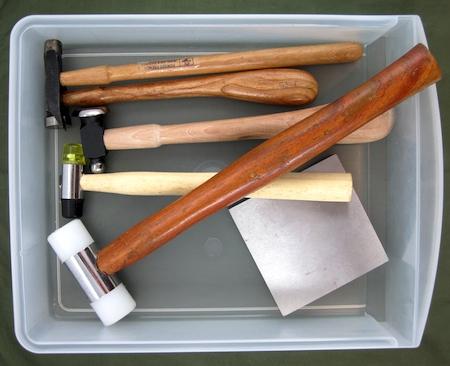 Storing jewelry hammers and steel block - Rena Klingenberg