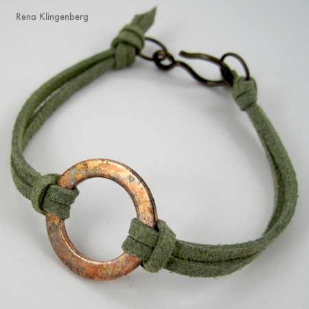 Rustic Copper Washer Leather Bracelet