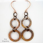Long Rustic Copper Washer Earrings - Tutorial by Rena Klingenberg