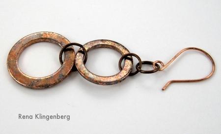 Brincos lavadores de cobre longos e rústicos - Tutorial de Rena Klingenberg
