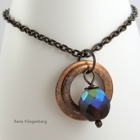 Rustic Copper Washer Necklace Tutorial by Rena Klingenberg
