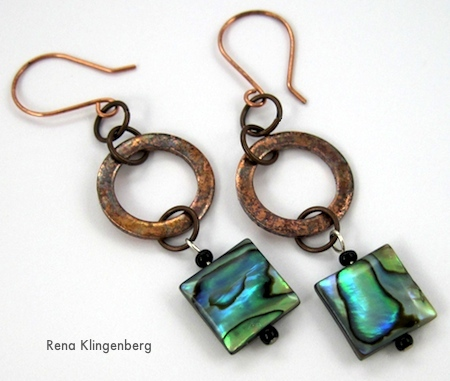 Brincos de arruela rústicos curtos de cobre - Tutorial de Rena Klingenberg