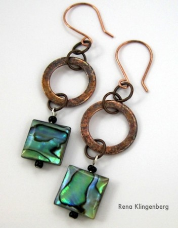 Short Rustic Copper Washer Earrings - Tutorial by Rena Klingenberg