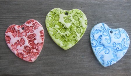 Polymer Clay Tile Hearts