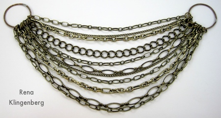 bib of Chain Reaction Necklace - tutorial by Rena Klingenberg